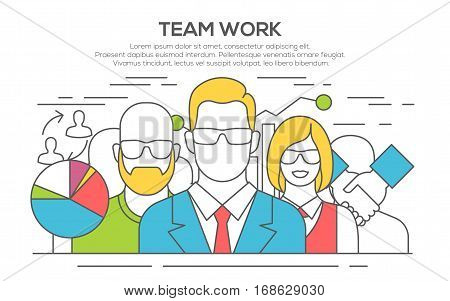 Teamwork. Business concept. Team work concept illustration. Business people teamwork, human resources, career opportunities, team skills, management. thin line flat design