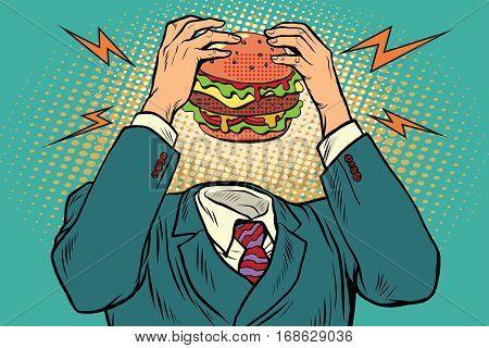 Hunger Burger instead of a head. Fast food and restaurants. Vintage pop art retro illustration