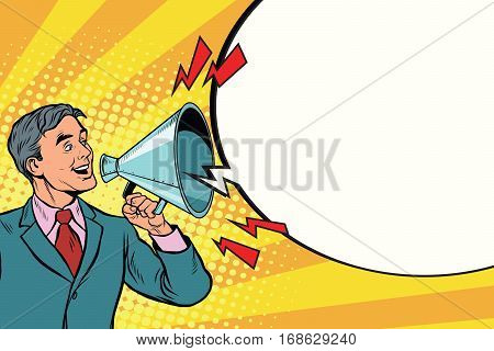 Vintage speaker with a megaphone shouting, pop art retro illustration