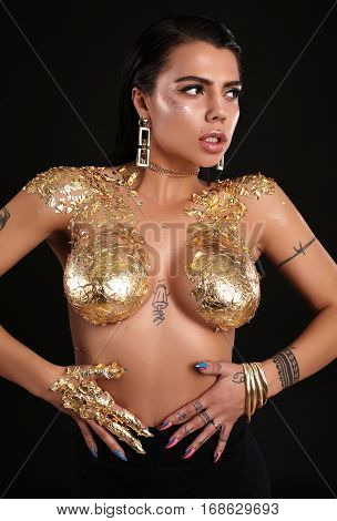 Gorgeous Sexy Woman With Dark Hair Posing Nude, With Body Art Gold Painting