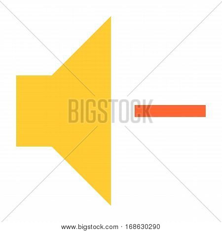 Flat volume-decrease icon loudspeaker sign speaker interface button. Multimedia audio video movie pictogram. Vector illustration a graphic element for web internet design.