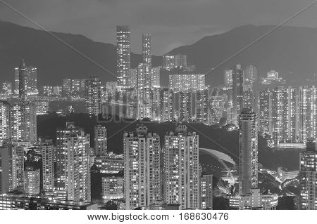 Black and White Hong Kong city over high hill night view