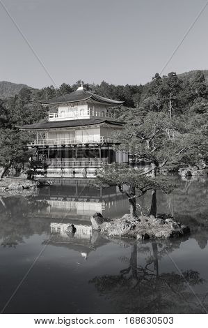 Black and White Zen Buddhist temple Kinkaku-ji temple called Golden Pavilion in Kyoto Japan landmark
