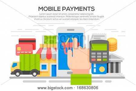 Flat design concepts for Mobile Payment. Making payments with mobile device. Concepts for web banners and promotional materials. Internet banking, purchasing and transaction.