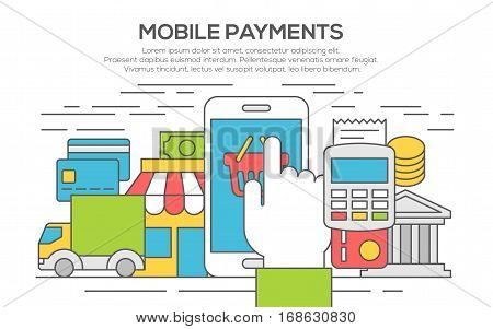 Flat design concepts for Mobile Payment. Making payments with mobile device. Concepts for web banners and promotional materials. Internet banking, purchasing and transaction. thin line, flat design