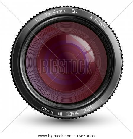 A camera lens vector illustration with realistic reflections and shadow