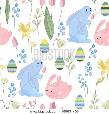 Seamless pattern made of rabbits,eggs and plants. Endless floral texture