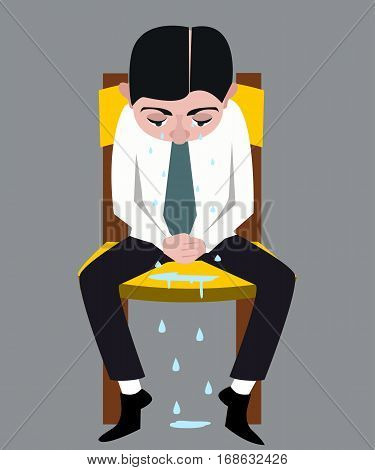 man sitting on the chair, crying with many tears vector cartoon