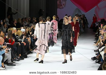 KYIV, UKRAINE - OCTOBER 13, 2016: Models walk the runway at Yana Chervinska collection show during the 39th Ukrainian Fashion Week at Mystetsky Arsenal in Kyiv