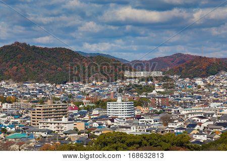 Himeji residence downtown aerial view from Himeji castle in Hyogo Kansai Japan during autumn season