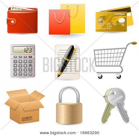Web Shop icon set. On-line Internet Shop.