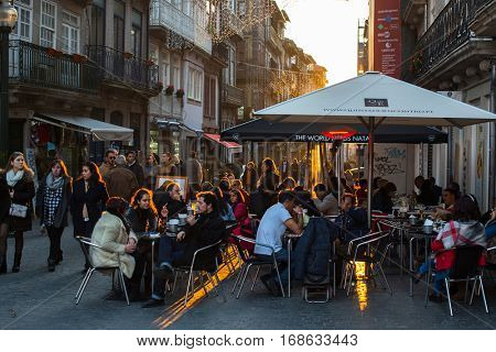 PORTO, PORTUGAL - JAN 8, 2017: One of the streets in the historical centre of Old Porto downtown. City of Porto won the European Best Destination 2012 and 2014 awards.