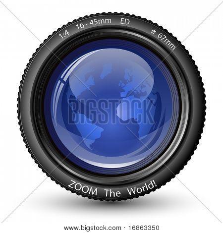 Zoom der Welt! Vektor-Illustration der Kameralinse mit Globus. Symbol für TV-Nachrichten