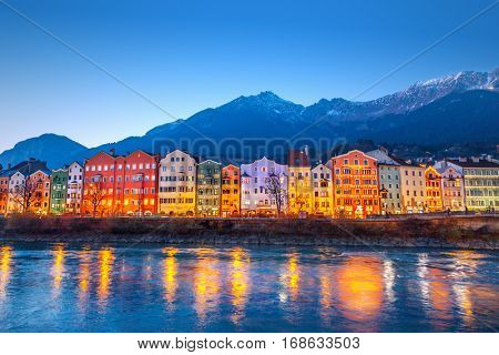 Innsbruck at night, Austria