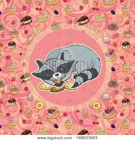 Vector illustration of sweet-tooth raccoon with cookies on bright background with cakes. Template for card and graphic design.