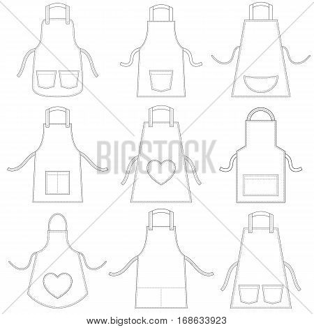 white apron set isolated on white background