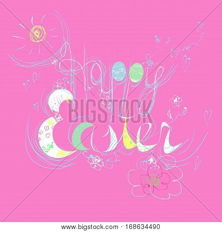 Happy Easter lettering for greeting card. Cute vector illustration.