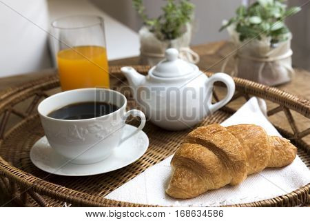 Breakfast Tray, Lifestyle / Tray with coffee, croissant and orange juice