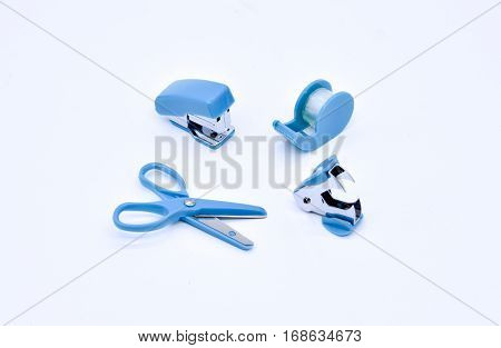 office stationary stapler clip on white background