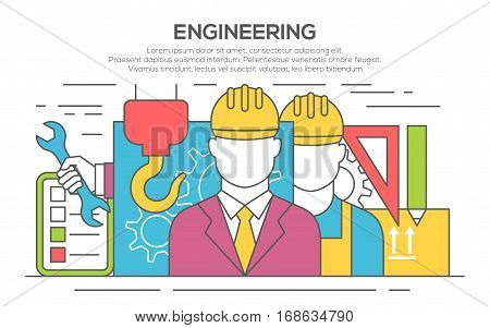 Engineer construction industrial factory manufacturing workers flat banner. Engineer concept design. Civil engineer and construction worker. Illustration of engineering, thin line, flat design
