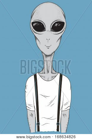 Martian dressed in t-shirt like a human.Cartoon vector illustration.