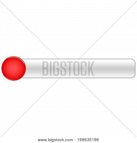 Red blank round glossy button gray rectangle. Vector illustration a graphic element for web internet design