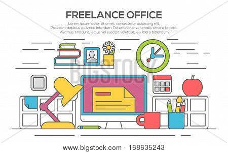 Workplace in office. Cabinet with workspace with table and computer. Flat style vector illustration. Modern home office interior. Home office workspace with desk computer, thin line, flat design