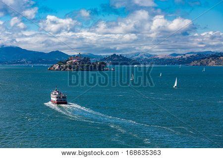 A Ferry Toward Alcatraz Island Prison Tour