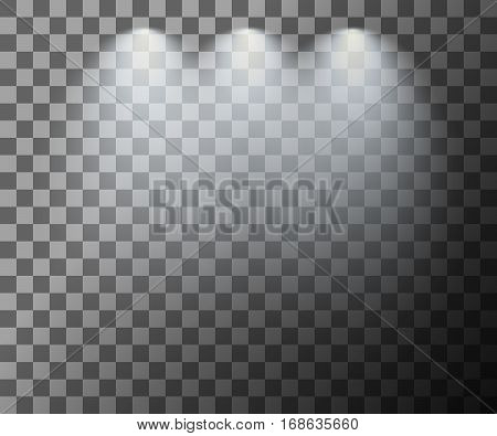 Scene illumination. Cold light effect. Stage illuminated spotlight on transparent background. Vector illustration.