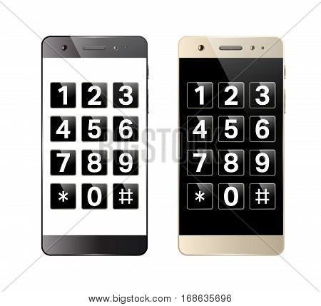 Smartphone with digital keypad. Mobile phone with numbers. Telephone button security lock. Vector illustration.