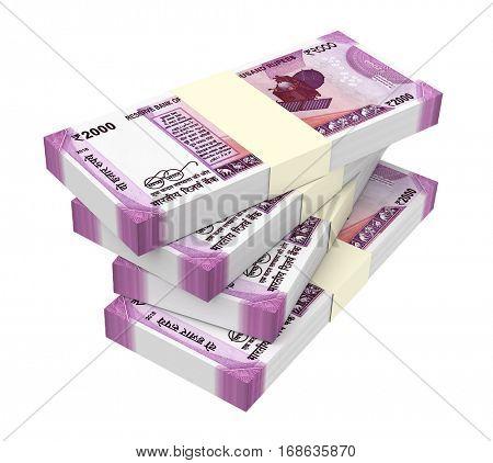 India Rupee isolated on white background. 3D illustration.