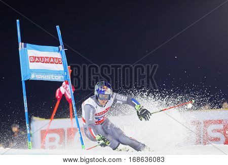 STOCKHOLM SWEDEN - JAN 31 2017: Closeup of Alexis Pinturault (FRA) squirting snow in the downhill skiing in the parallel slalom alpine event Audi FIS Ski World Cup. January 31 2017 Stockholm Sweden