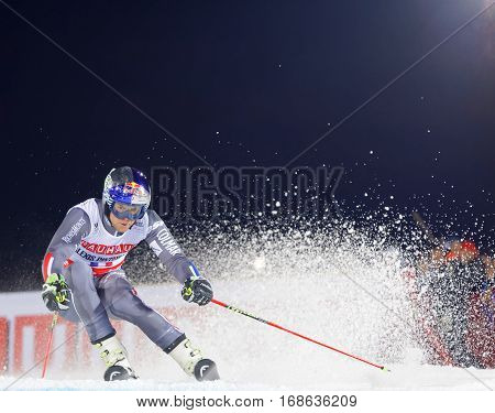STOCKHOLM SWEDEN - JAN 31 2017: Alexis Pinturault (FRA) squirting snow in the downhill skiing in the parallel slalom alpine event Audi FIS Ski World Cup. January 31 2017 Stockholm Sweden