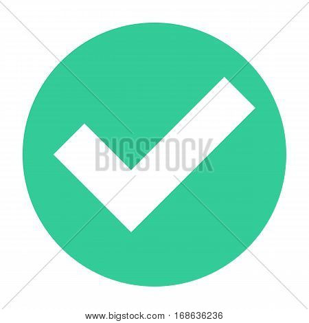 Flat check mark icon addition circle sign choice round button. Quick and easy recolorable shape isolated from background. Vector illustration a graphic element for web internet design