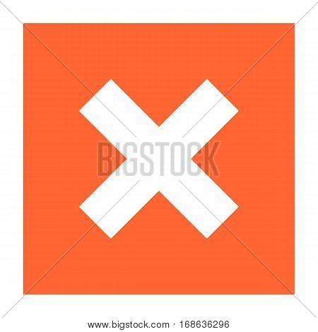 Flat delete icon square remove sign exclusion button. Quick and easy recolorable shape isolated from background. Vector illustration a graphic element for web internet desig