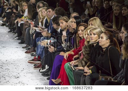 KYIV, UKRAINE - OCTOBER 13, 2016: Audience watching the show during the 39th Ukrainian Fashion Week at Mystetsky Arsenal in Kyiv