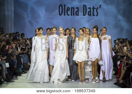 KYIV, UKRAINE - OCTOBER 16, 2016: Models walk the runway at Olena Dats collection show during the 39th Ukrainian Fashion Week at Mystetsky Arsenal in Kyiv