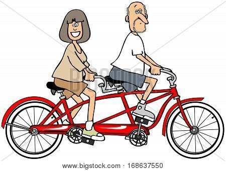 Illustration of an older couple riding a tandem bicycle.