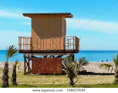 lifeguard hut on the beach in Batumi