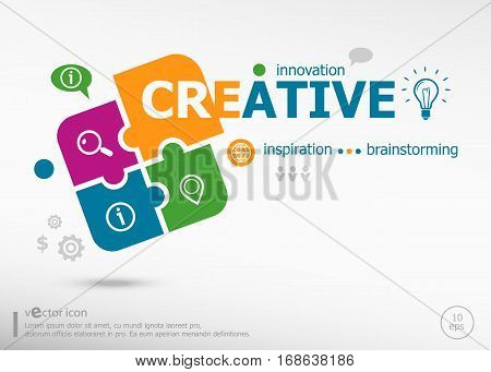 Creative aword cloud on colorful jigsaw puzzle. Infographic business for graphic or web design layout