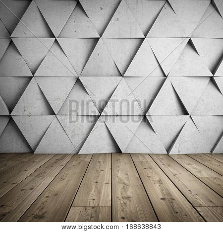 Design of room with concrete wall of geometric shapes. 3D illustration.