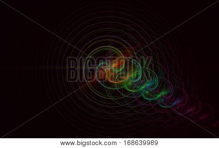 a fractal with colorful and concentric circles