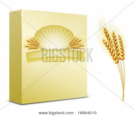 Package design. Wheat flour or Pasta, macaroni, spaghetti. Vector illustration of ears of wheat and label.