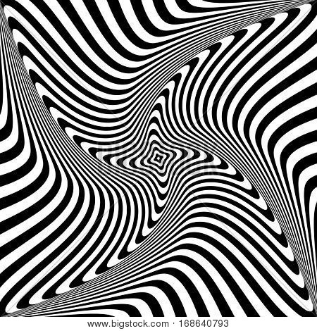 Abstract op art design. Rotation torsion movement. Vector illustration.