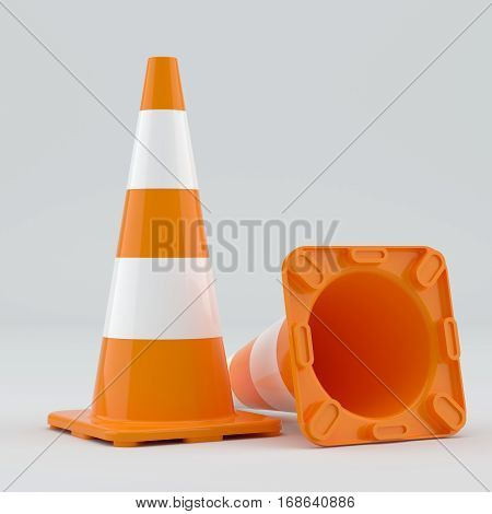 Two traffic cones, on gray background. 3D Illustration