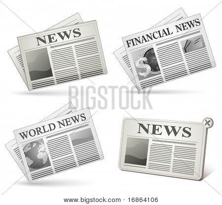Conjunto de iconos de periódico. Ilustraciones vectoriales de periódico.