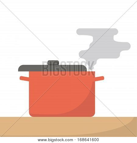 Saucepan with steam isolated. Flat design cooking on stove