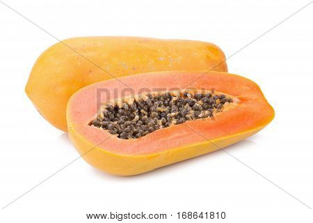 ripe sweet papaya isolated on white background