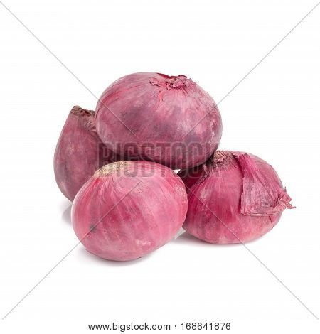 red onion, shallots isolated on white background