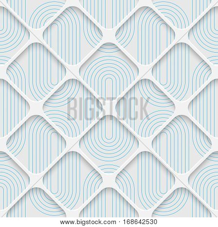 Seamless Elegant Lattice Pattern. Abstract Three-dimensional Background. Modern Textile Wallpaper. White and Blue Art Design